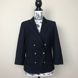 Anthropologie Coquille Navy Double Breasted Blazer